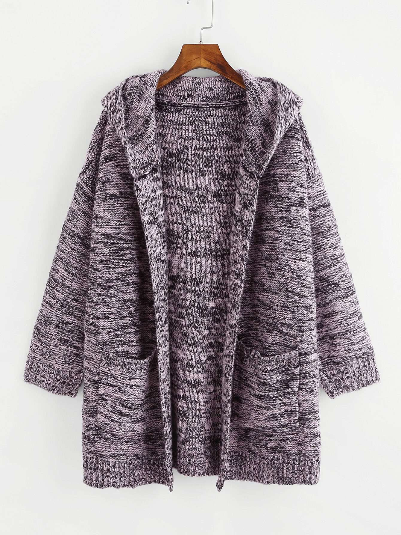 Pocket Front Flecked Hoodie Cardigan