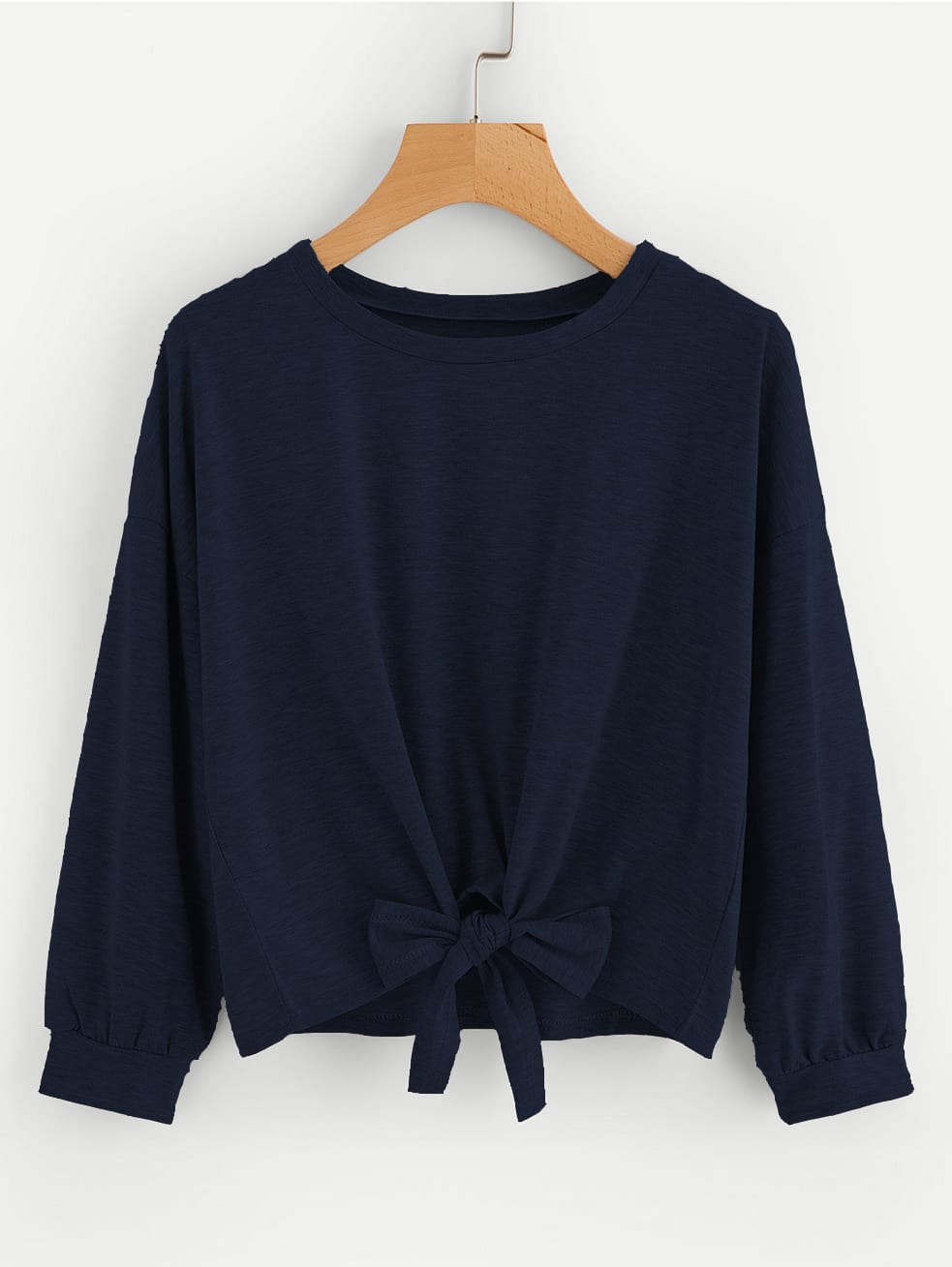 Bow Tie Front Drop Shoulder Sweatshirt drop shoulder grommet tie detail sweatshirt