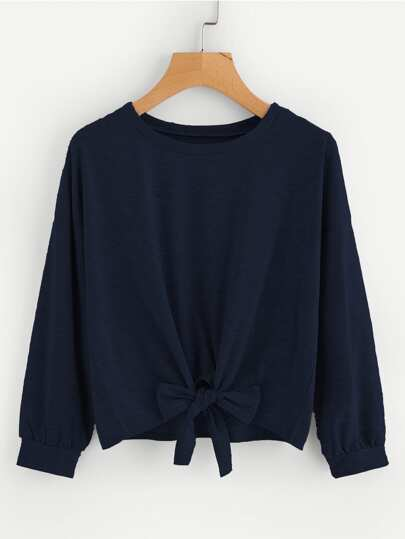 Bow Tie Front Drop Shoulder Sweatshirt