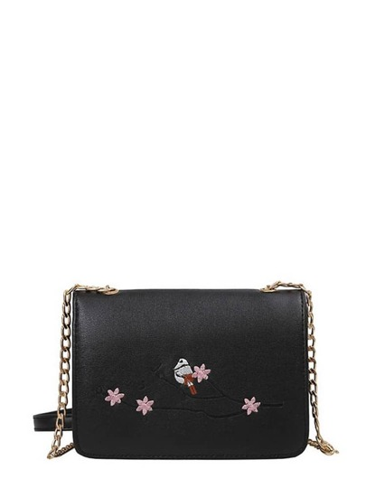 Flower Embroidery PU Crossbody Chain Bag
