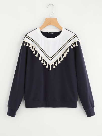 Tassel And Braided Patch Front Sweatshirt
