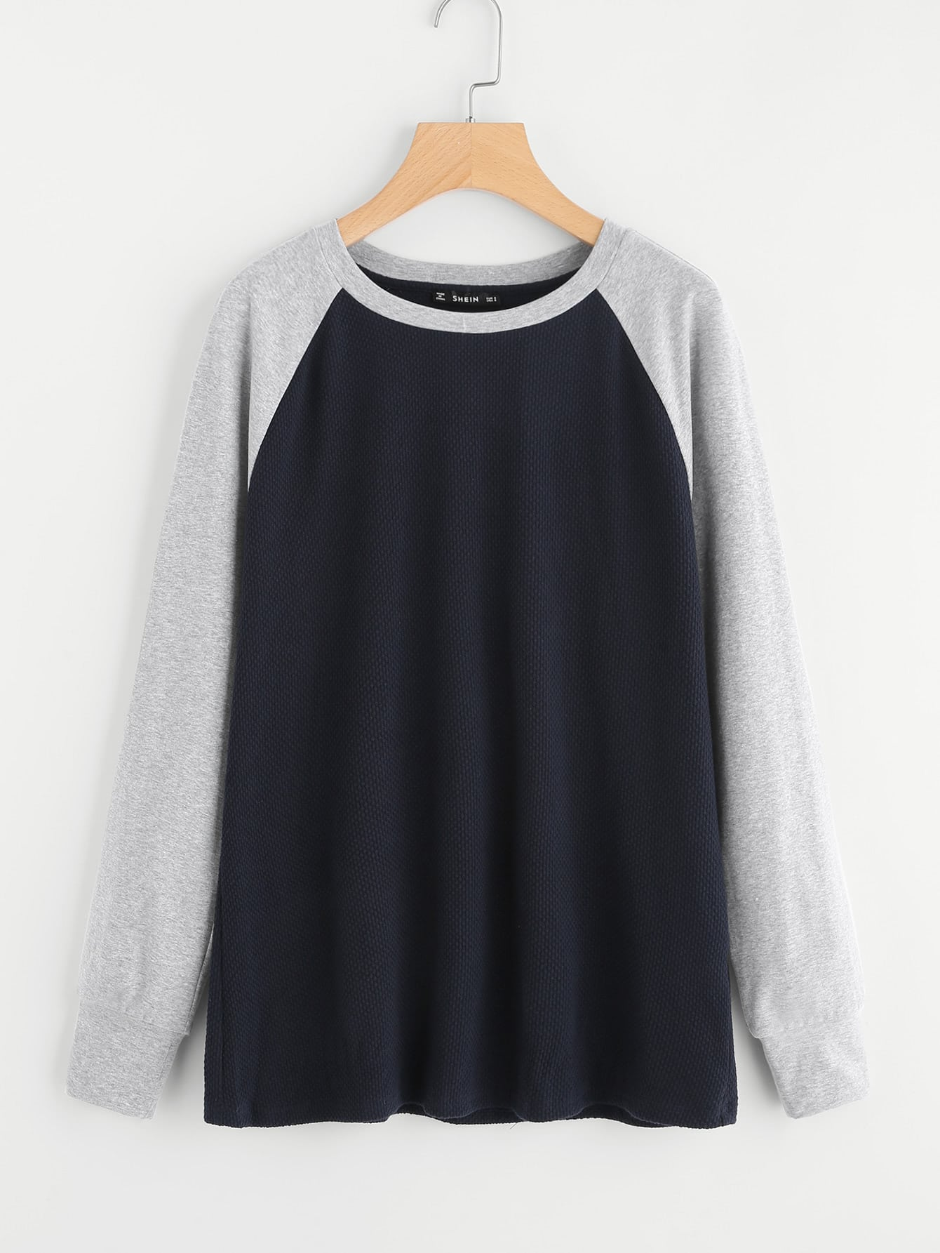 Elbow Patch Detail Contrast Raglan Sleeve T-shirt elbow sleeve contrast mesh pom pom detail blouse