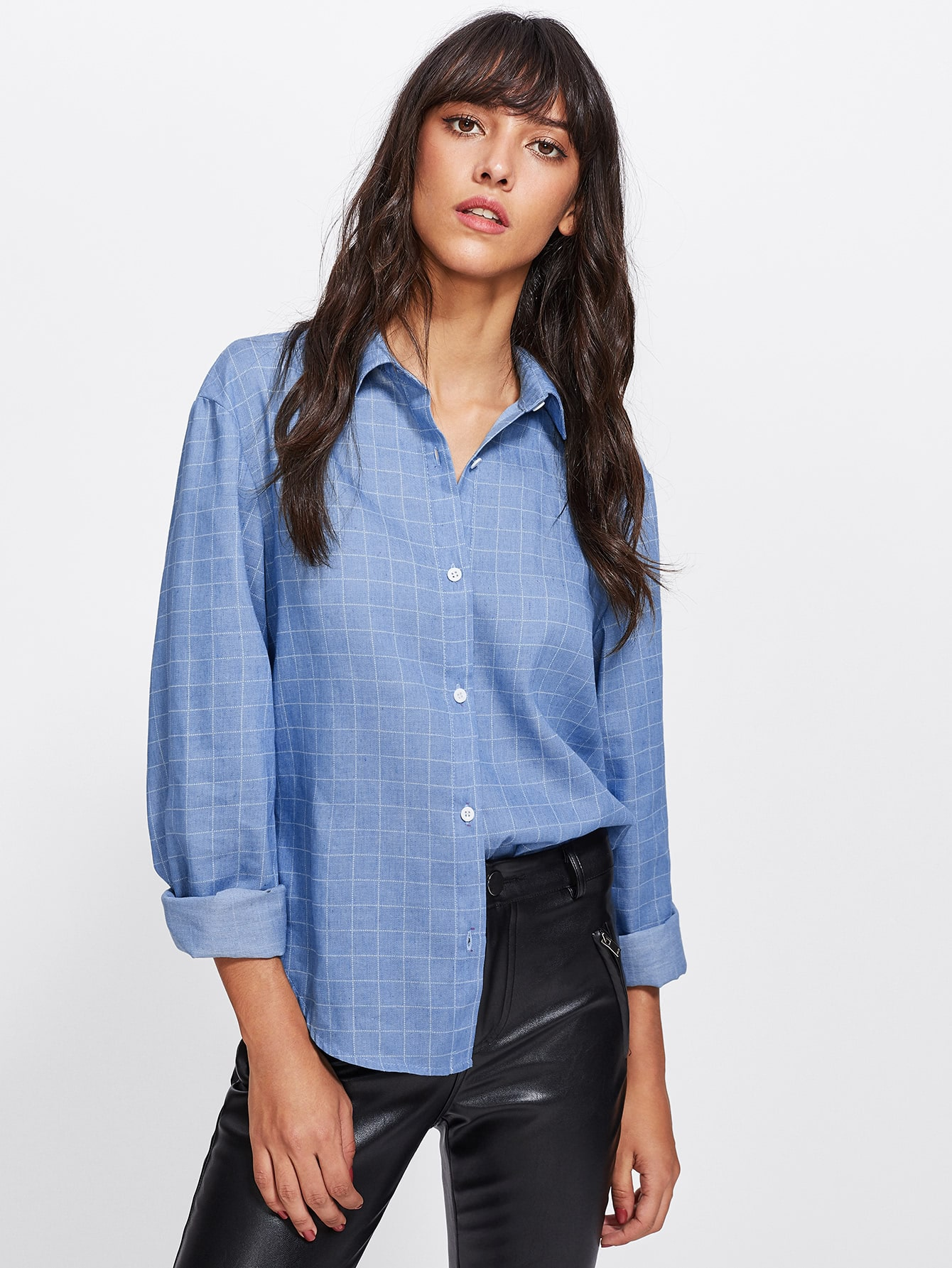 Image of Curved Hem Grid Shirt