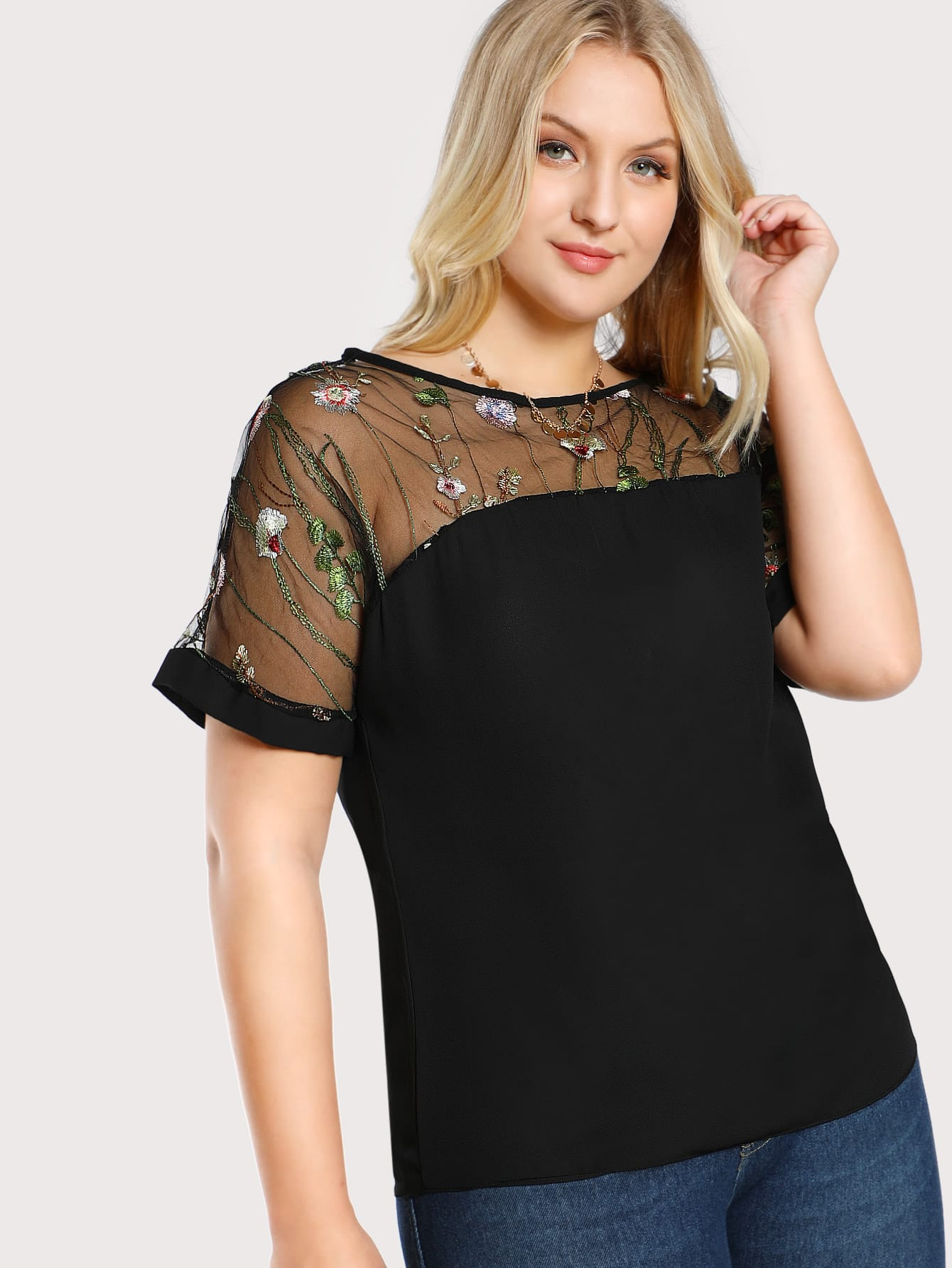 Plus Flower Embroidered Mesh Shoulder Top embroidered flower mesh crop top