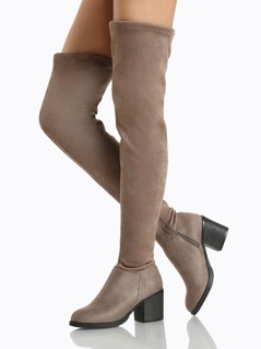 Round Toe Faux Suede OTK Boots BLACK