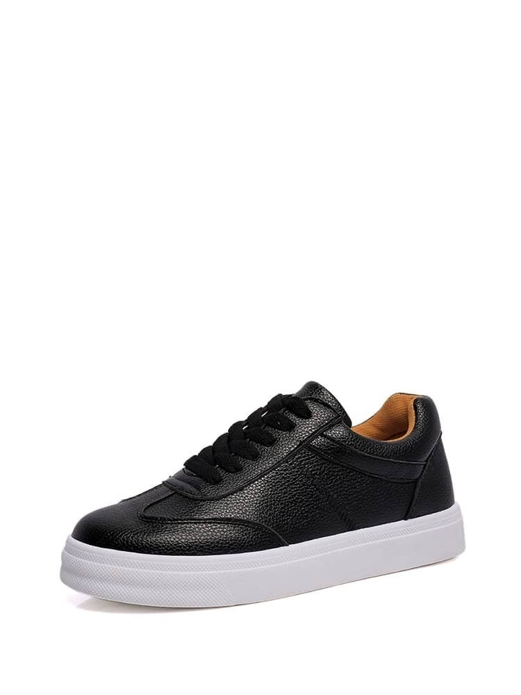 Lace Up PU Flatform Sneakers