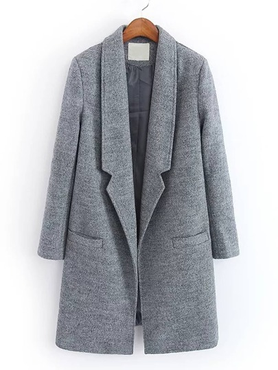 Notch Lapel Wool Blend Coat