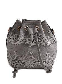 Crochet Lace Drawstring Bucket Bag