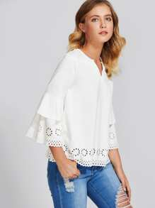 V-Cut Neck Scalloped Laser Cut Top