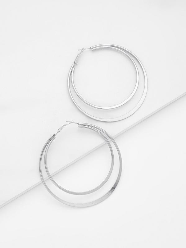 Double Layered Open Hoop Earrings 1pair, null