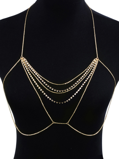 Rhinestone Decorated Chest Body Chain