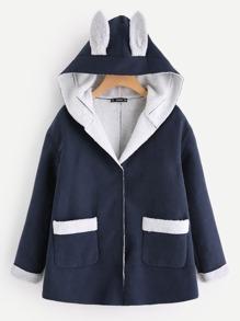 Snap Button Rabbit Pattern Coat