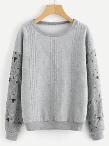Flower Pattern Hollow Out Sleeve Sweatshirt