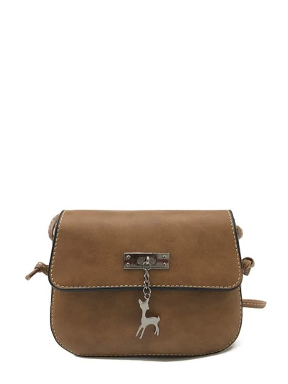 Deer Detail Flap PU Crossbody Bag