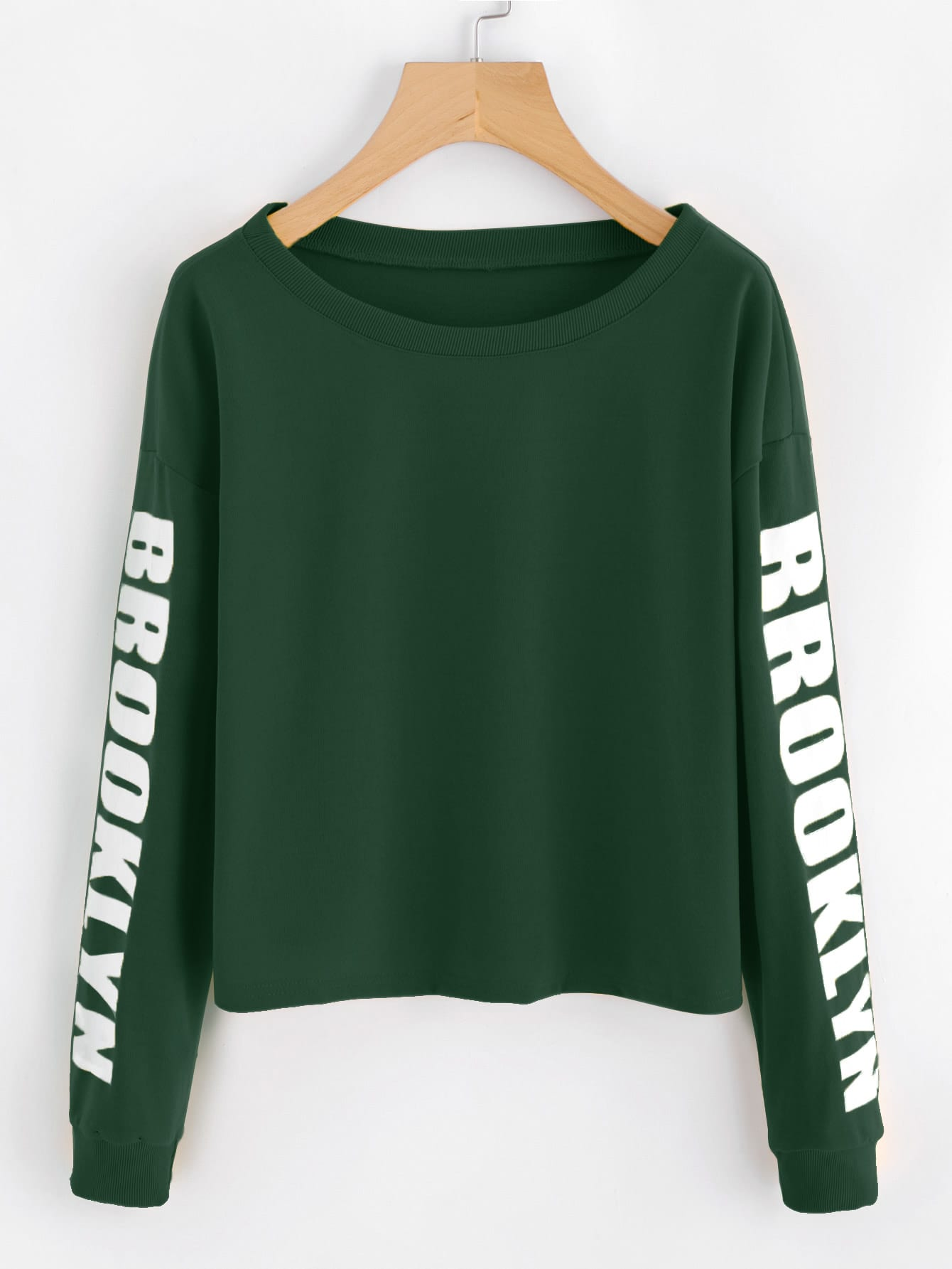 Drop Shoulder Letter Print Crop Sweatshirt drop shoulder crop sweatshirt