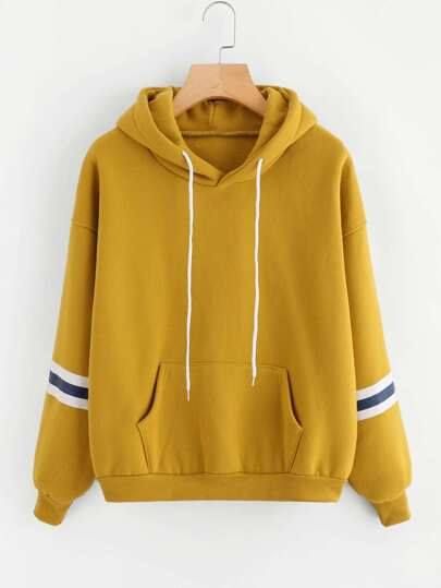Varsity Striped Kangaroo Pocket Hooded Sweatshirt