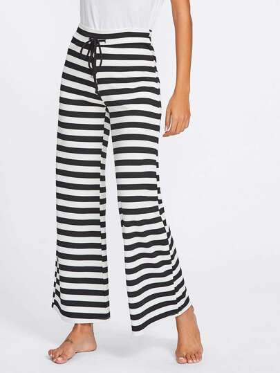 Block Stripe Drawstring Waist Pants