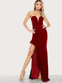 Sweetheart Slit Ruffle Accent Maxi Dress RED