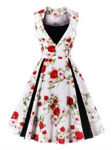 Vestido floral con panel en contraste