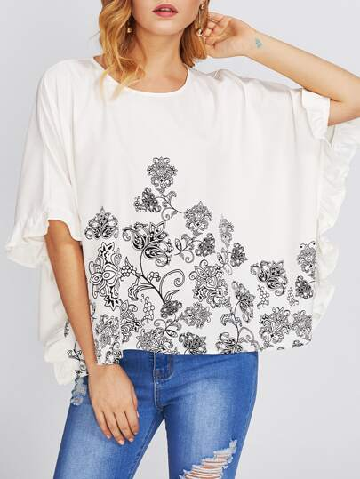 Frilled Cuff Botanical Print Batwing Top