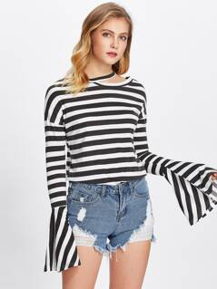 Cutout Neck Bell Sleeve Striped Tee