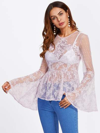 Lace Applique Embroidered Mesh Top