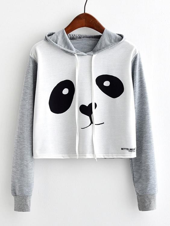 Panda Print Crop Marled Hoodie drop shoulder letter print marled crop sweatshirt