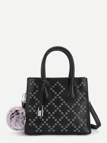 Grommet Design PU Crossbody Bag With Pom Pom