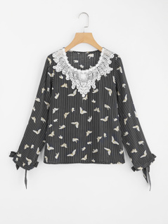 Lace Applique Neck Bow Cuff Mixed Print Top