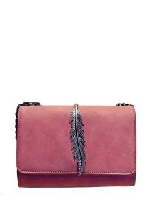Metallic Leaf Detail Flap Chain Crossbody Bag