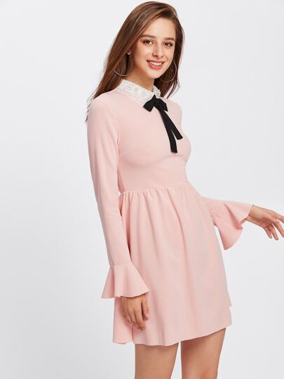 Contrast Mesh Collar Fluted Cuff Smock Dress