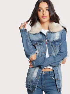 Long Sleeve Distressed Denim Faux Fur Jacket DENIM
