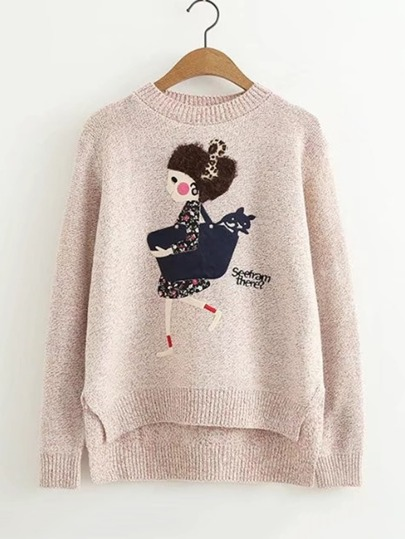 Girl Pattern Dip Hem Sweater