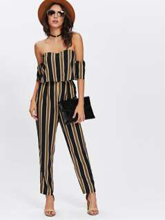 Flounce Layered Neck Striped Jumpsuit