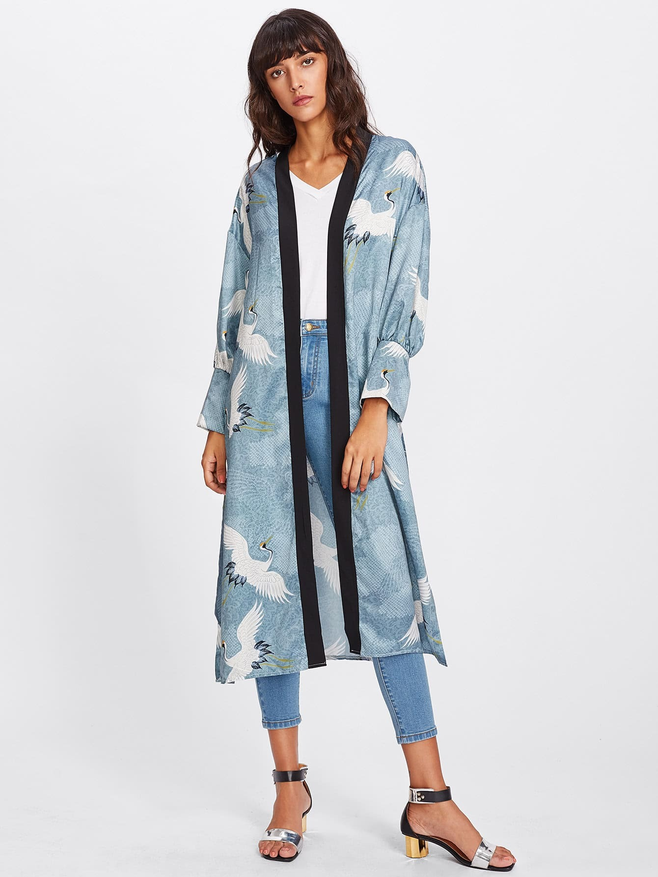 Contrast Neckline Crane Bird Print Kimono