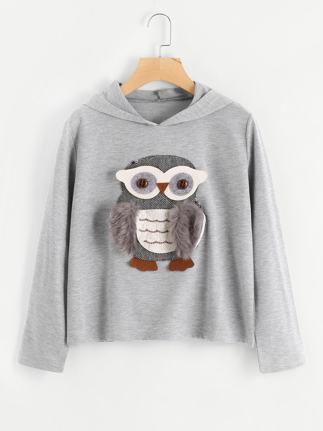 Image of 3D Owl Applique Faux Fur Detail Hoodie
