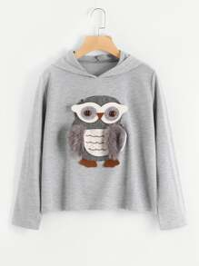 3D Owl Applique Faux Fur Detail Hoodie