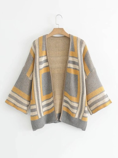 Geo Pattern Drop Shoulder Cardigan