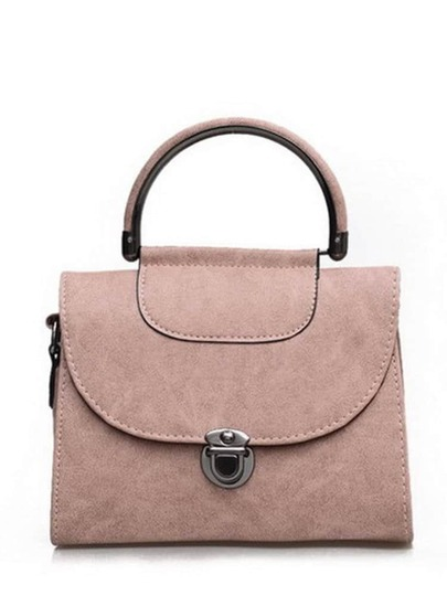Pushlock Closure Flap Handbag With Strap