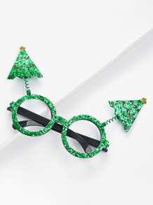 Weihnachten Brille Rahmen mit Weihnachtsbaum und Pailletten