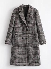 Manteau à carreaux en laine mélangée