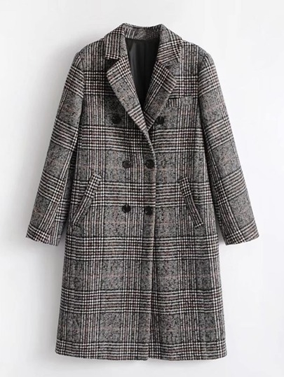 Wool Blend Glen Plaid Coat