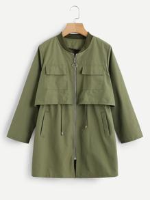 Tiered Drawstring Trim Zip Up Coat