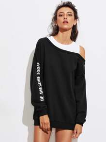 Asymmetric Contrast Open Shoulder Pullover