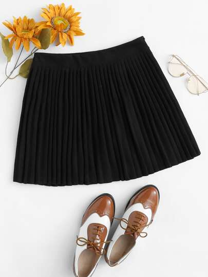Zip Up Side Pleated Skirt