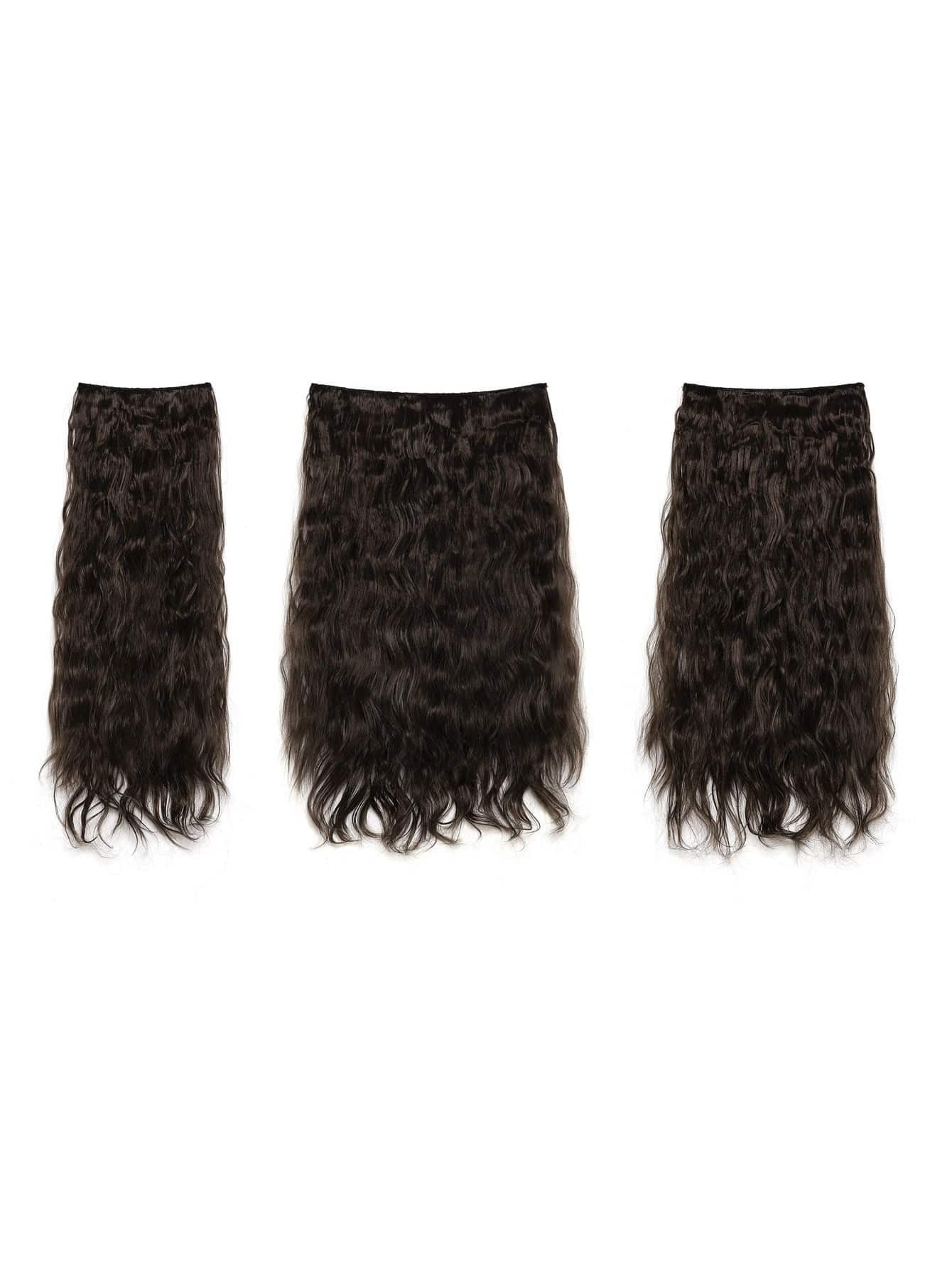 цена на Dark Brown Clip In Curly Hair Extension 3pcs