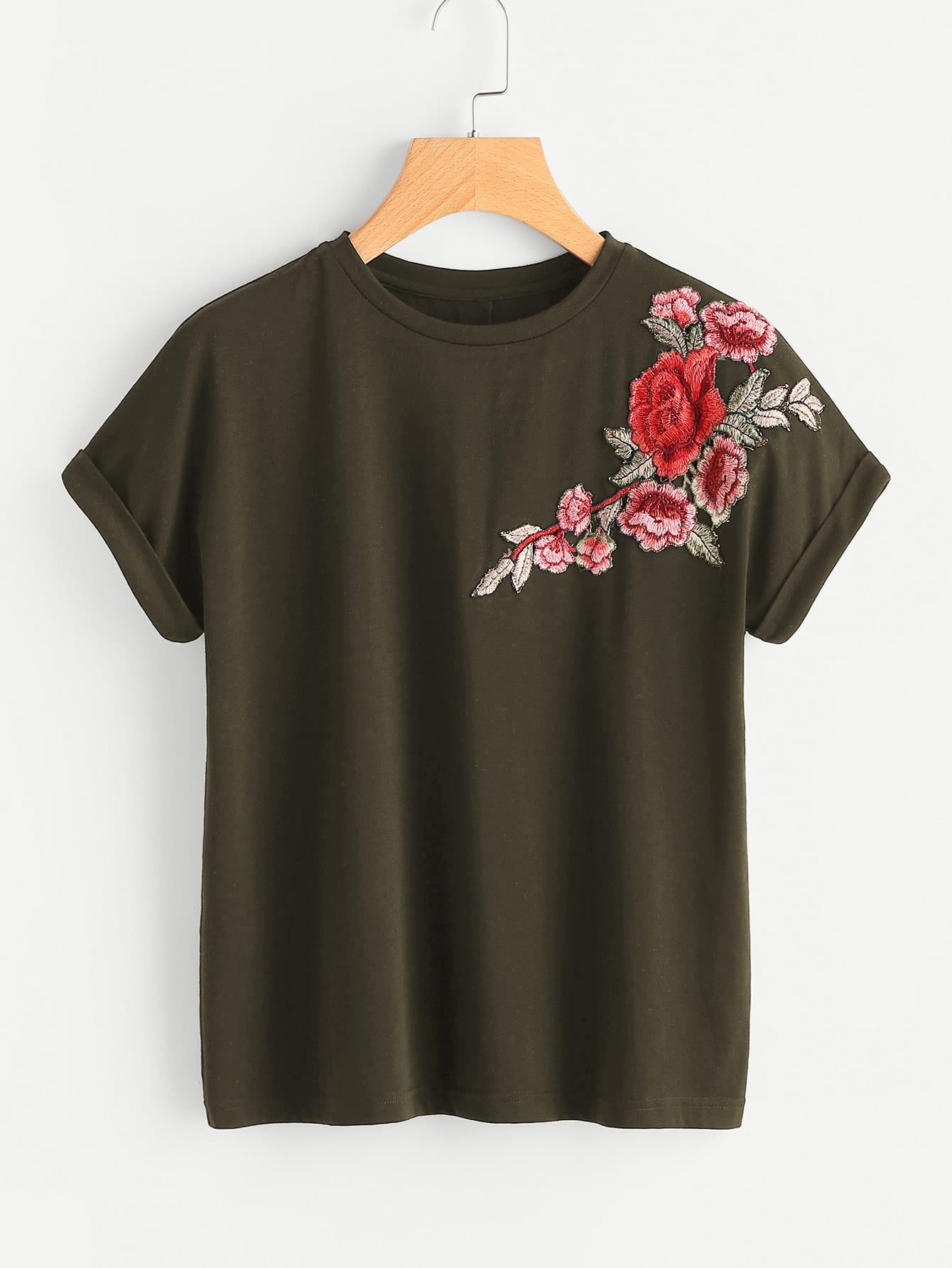 Flower Patch Cuffed Sleeve Tee flower patch full length tee dress
