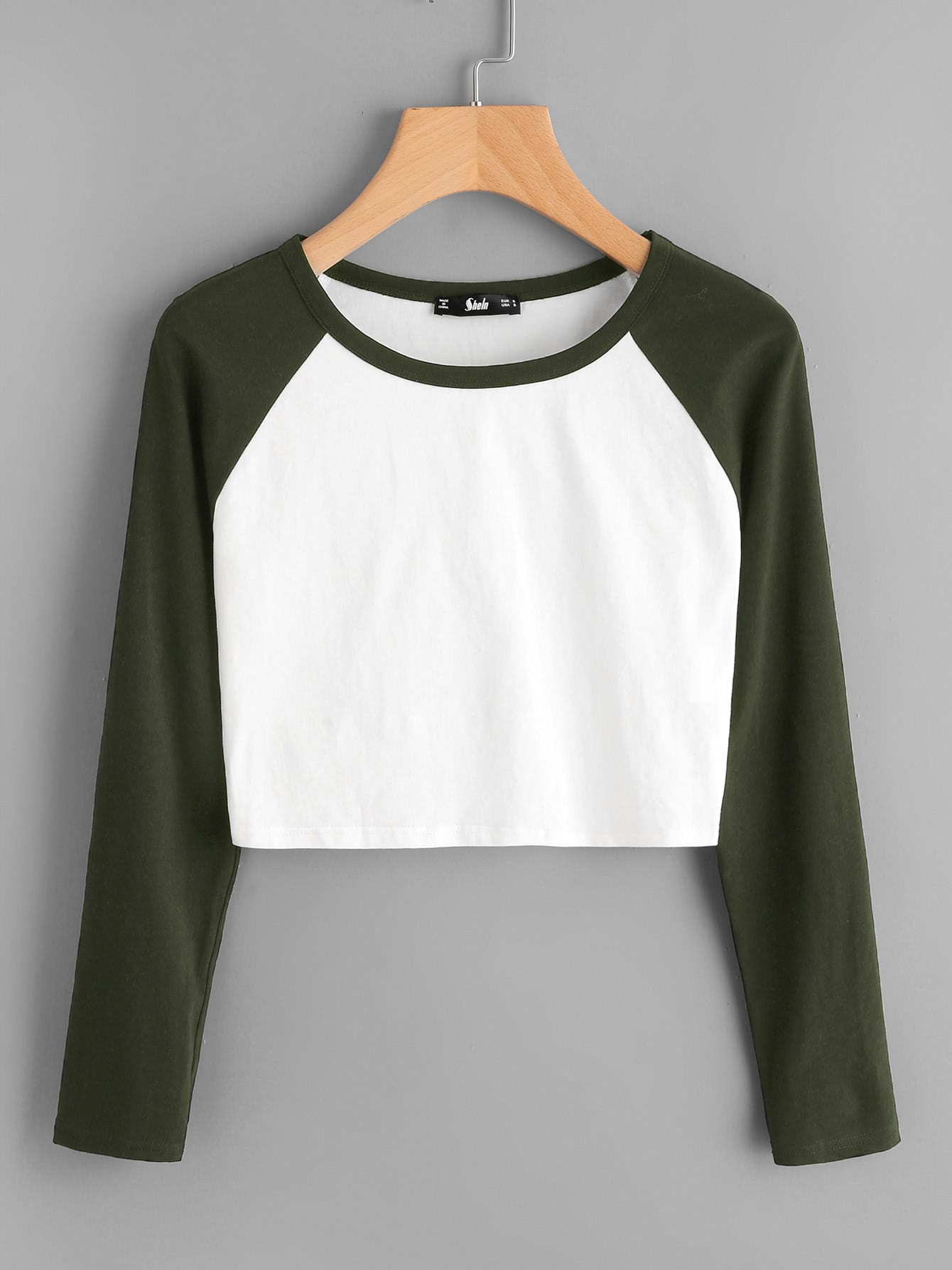 Two Tone Raglan Sleeve Crop Tee drop crotch loose two tone pants