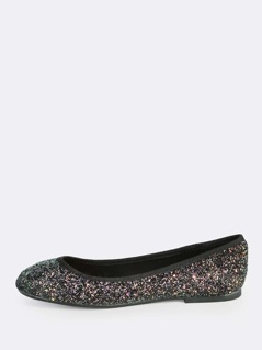 Round Toe Glitter Flats BLACK