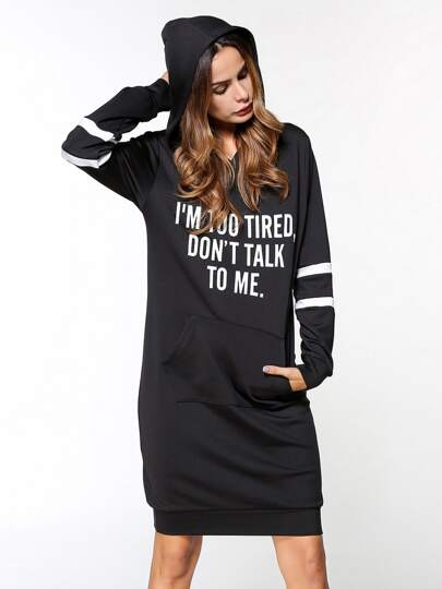 Varsity Striped Slogan Hoodie Dress